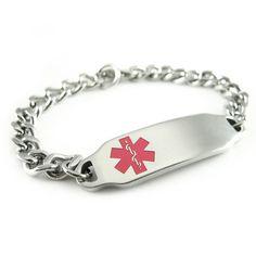 Steel, Ladies Medical ID Bracelet, Pink, Custom ENGRAVED FREE - i2C-BS1 on Etsy I think im definitely getting this! Really simple and cute :)