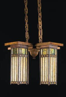 A LEADED GLASS CEILING FIXTURE  GIANNINI AND HILGART, CIRCA 1905