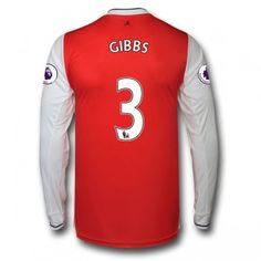 Arsenal 16-17 Kieran Gibbs 3 Hemmatröja Långärmad  #Fotbollströjor