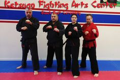 Our current Black Belts (2014): Sensei Dan (3rd Degree), Sempai Sensei Bob (4th Degree), Sensei Christina (Black), Shihan Mike (5th Degree)