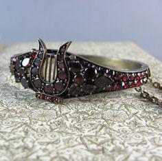 rare and authentic Victorian era antique Bohemian garnet and tombac bracelet.