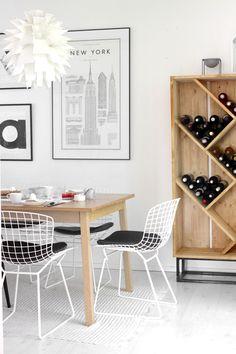 Modern DIY wine cabinet, vintage Bertoia Wire-chairs, monochrome print art   more pics on my blog http://vastarintama.net