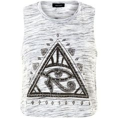 Grey Mystic Triangle Eye Space Dye Cropped Tank Top ($15) ❤ liked on Polyvore featuring tops, sleeveless crop top, sleeveless tank tops, gray tank, gray crop top and print tank top