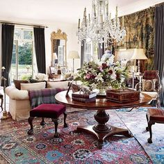 A Timeless Interior: 17th and 18th century Persian carpets in Ralph Lauren's country home living room #Regram @archdigest