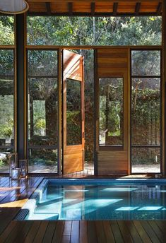 A gorgeous indoor pool by Cadas Arquitetura, via Design Milk.