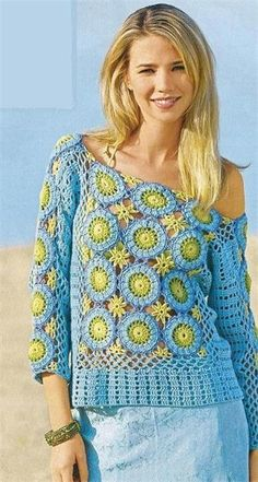 Horgolt színes nyári pulóver