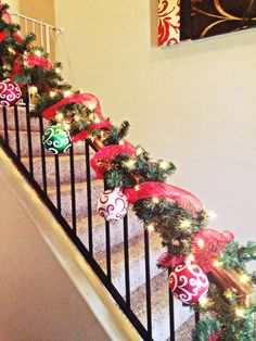 Christmas garland with giant ornaments