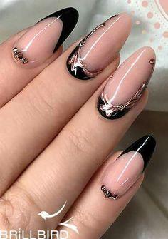 Wedding Nails-A Guide To The Perfect Manicure – Page 3184929620 – NaiLovely Black Nail Art, Black Nails, Pink Nails, Black French Nails, Creative Nail Designs, Creative Nails, Nail Art Designs, Nails Design, Fancy Nails