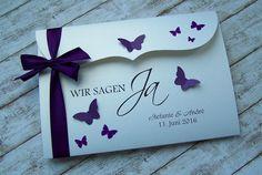 Einladung zur Hochzeit lila Bogenkarte gross