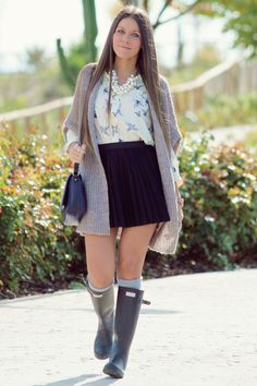 Hunter boots with style | hunter boot outfits | Pinterest | Girls ...