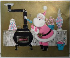 santa warming up his hands by the stove.