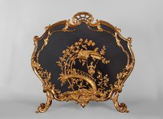 Beautiful antique Louis XV style firescreen with chinese-inspired decor in gilt bronze after a canvas by Jean-Baptiste Pillement (Reference - Available at Galerie Marc Maison Dressing Screen, Charred Wood, Architectural Antiques, Wire Mesh, Chinoiserie, Great Artists, French Antiques, Screens, A Table