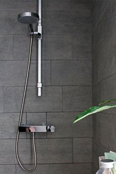 large charcoal shower tiles - Google Search