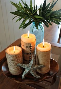 Adventures in Antiquing: (Easy!) Beachy Candle Makeover From HGTV's Design Old Candles, Candle Lanterns, Pillar Candles, Rustic Candles, Candle In The Wind, Beautiful Candles, Beach Crafts, Coastal Decor, Coastal Style