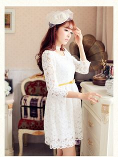heart it races scalloped chiffon dress $53 #asianicandy #lace #white