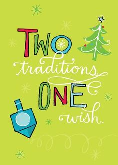 Do you celebrate both Christmas and Hanukkah? One Wish - Hanukkah Greeting  Cards in Bright