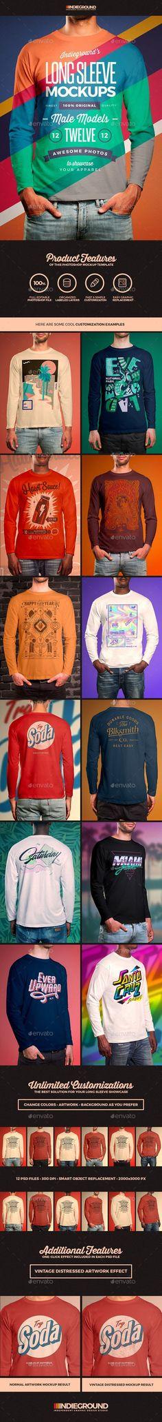 Men Long Sleeve T-Shirt Mockups - Apparel #Product #Mock-Ups Download here:  https://graphicriver.net/item/men-long-sleeve-tshirt-mockups/19758057?ref=alena994