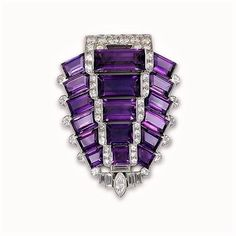 Platinum, diamond and amethyst brooch by Cartier, circa 1930s.