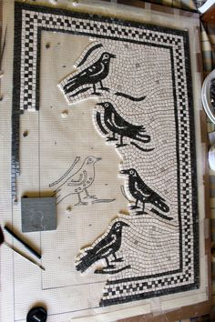 Helen Miles Mosaics — Half way! Mosaic Tile Art, Mosaic Birds, Mosaic Diy, Mosaic Garden, Stone Mosaic, Mosaic Glass, Glass Art, Mosaic Mirrors, Stained Glass