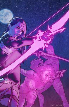 Psylocke-Comic Art by Jamal Campbell Comics Anime, Comic Manga, Marvel Comics Art, Marvel Dc Comics, Marvel Heroes, Marvel Characters, Female Characters, Marvel Women, Marvel Girls