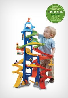 The sky's the limit! Kids have a blast playing with the Fisher-Price Little People Wheelies 'Sky City' toy set