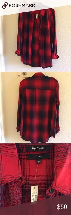Madewell Ex Boyfriend Plaid Shirt brand: madewell  condition: brand new with tags!  color: red and black plaid  size: small  other: super cute plaid pattern as well as good quality fabric. i own 2 already, so decided to sell this one. it's perfect to layer over a tank top, wear alone, or tie around your waist. Madewell Tops Button Down Shirts