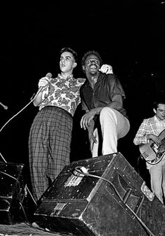 Terry Hall and Neville Staples of The Specials, Rock Against Racism and Anti-Nazi League Carnival, Potternewton Park, Leeds, 1981 Gorillaz, Terry Hall, Ska Music, Acid House, Rude Boy, Northern Soul, Post Punk, My Favorite Music, New Wave