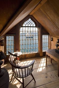 Mansarde Wohnung Ideen Schiff Im Meer Stuhl In Zimmer Mansarde Mit Ausblick  Auf Das Meer Holzhaus