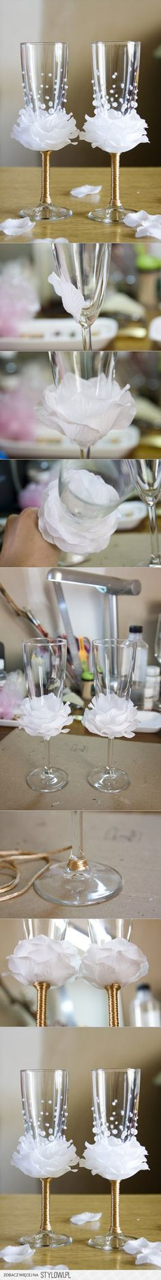 How to DIY Flower Bead Decorated Wine Glasses | www.Fab… na Stylowi.pl