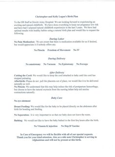 the first commandment natural birth plan nice and simple mine is crazy long