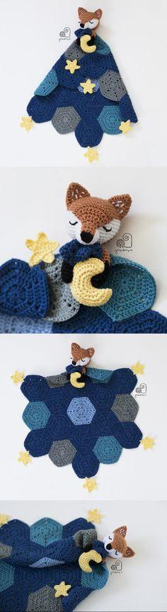 Lucy the Fox baby lovey crochet pattern