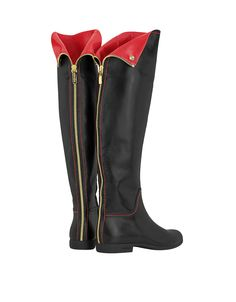 Loriblu Red and Black Knee High Nappa Leather Boots | FORZIERI