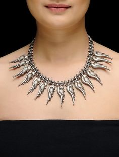 Buy Silver Drop Necklace with Parrot Motif Online at Jaypore.com