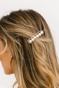 Remember When Hair Clip – Luca + Grae Bobby Pin Hairstyles, Headband Hairstyles, Hair Scarf Styles, Short Hair Styles, Luca And Grae, Gold Hair Clips, Short Wedding Hair, Pearl Hair, Hair Accessories For Women
