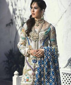 """Pakistan Vogue (@pakistanvogue) on Instagram: """"Elegant & Chic we love this Duck Egg blue Anarkali perfectly embellished with silver & antique…"""""""