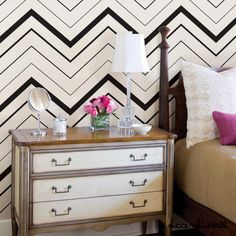 Chevron Bold Black Peel & Stick Fabric Wallpaper Repositionable - Simple Shapes Wall Decals, Furniture, and Accessories Wallpaper For Sale, Bold Wallpaper, Wallpaper Samples, Fabric Wallpaper, Peel And Stick Wallpaper, Temporary Wallpaper, Wallpaper Size, Cleaning Walls, Traditional Wallpaper