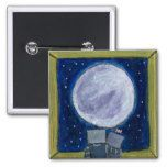 To the Moon and Back pin- A scan of a hand painted canvas of moon-gazing robots in love.  <3