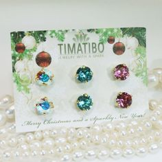 Mix and Match Studs Swarovski Crystal Any 3 Pairs!Christmas In July Offer!Christmas Earrings,Set of 3 Crystal Stud earrings,8mm single stone