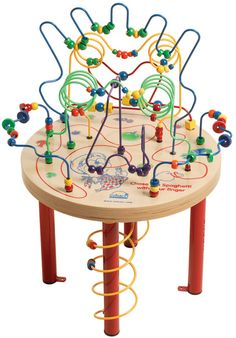 Spaghetti Legs Table Wires and Beads Maze Rollercoaster Activity Table