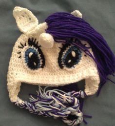 Crochet Rarity Hat, My Little Pony, Friendship is Magic, Rarity, unicorn, crochet, horse, pony