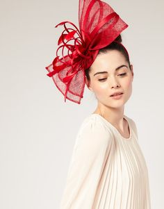 97f16a3e747 Asos Collection Red Asos Statement Sinamay Bow and Ribbon Fascinator