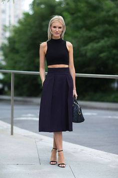 Black crop top, navy blue midi skirt, black ankle strap heels, summer fashion 2014, fashion trends, outfit