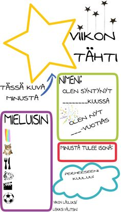 Viikon tähti haastattelu päiväkotiin Early Education, Early Childhood Education, Special Education, Teaching Aids, Teaching Kindergarten, Classroom Inspiration, Working With Children, Preschool Activities, Kids And Parenting