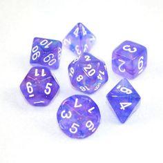 Set of 7 Chessex Borealis Purple/white RPG Dice (T IDEA)