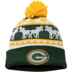 Mens Green Bay Packers New Era Green Pom Pom Cuffed Knit Hat