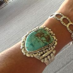 Vintage Navajo Sterling Silver Turquoise Cuff Bracelet Signed Turquoise Jewelry by edanebeadwork on Etsy https://www.etsy.com/listing/236969113/vintage-navajo-sterling-silver-turquoise