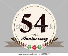 54 years anniversary logo with oval shape, flower, and ribbon. anniversary logo for birthday, wedding, celebration and party