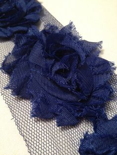 Navy Chiffon Flowers by MonAmiePaperie on Etsy, $5.44