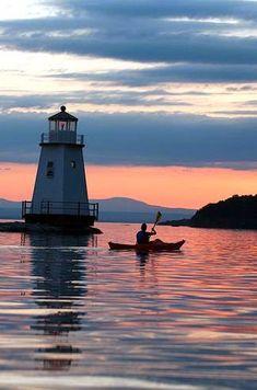 Kayaking on Lake Champlain at Sunset