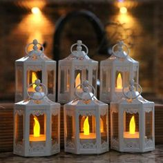 "Ophelia & Co. 6 Piece 5.5"" Glass Tabletop Lantern & Reviews   Wayfair Shabby Chic Lanterns, Rustic Lanterns, Vintage Lanterns, Metal Lanterns, Lanterns Decor, Decorative Lanterns, Glass Tea Light Holders, Diy Candle Holders, Diy Candles"